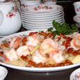 大海老とくるみ、セロリの炒め物